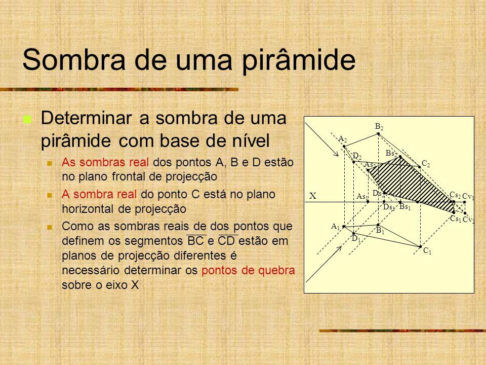Sombra de uma pirâmide Determinar a sombra de uma pirâmide com base de nível As sombras real dos pontos A, B e D estão no plano frontal de projecção A sombra real do ponto C está no plano horizontal de projecção Como as sombras reais de dos pontos que definem os segmentos BC e CD estão em planos de projecção diferentes é necessário determinar os pontos de quebra sobre o eixo X X As 1 Ds 1 A2A2 B2B2 A1A1 B1B1 D2D2 C2C2 D1D1 C1C1 As 2 Ds 2 Bs 1 Bs 2 Cs 2 Cs 1 Cv 2 Cv 1