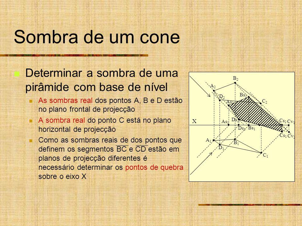 Sombra de um cone Determinar a sombra de uma pirâmide com base de nível As sombras real dos pontos A, B e D estão no plano frontal de projecção A sombra real do ponto C está no plano horizontal de projecção Como as sombras reais de dos pontos que definem os segmentos BC e CD estão em planos de projecção diferentes é necessário determinar os pontos de quebra sobre o eixo X X As 1 Ds 1 A2A2 B2B2 A1A1 B1B1 D2D2 C2C2 D1D1 C1C1 As 2 Ds 2 Bs 1 Bs 2 Cs 2 Cs 1 Cv 2 Cv 1