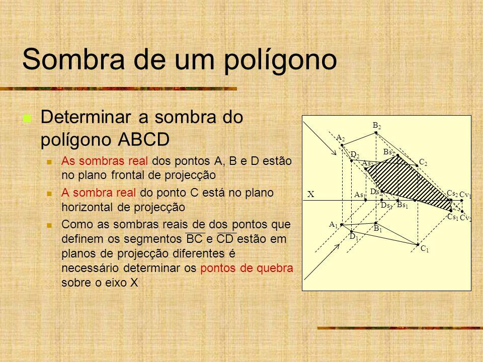 Sombra de um polígono Determinar a sombra do polígono ABCD As sombras real dos pontos A, B e D estão no plano frontal de projecção A sombra real do ponto C está no plano horizontal de projecção Como as sombras reais de dos pontos que definem os segmentos BC e CD estão em planos de projecção diferentes é necessário determinar os pontos de quebra sobre o eixo X X As 1 Ds 1 A2A2 B2B2 A1A1 B1B1 D2D2 C2C2 D1D1 C1C1 As 2 Ds 2 Bs 1 Bs 2 Cs 2 Cs 1 Cv 2 Cv 1