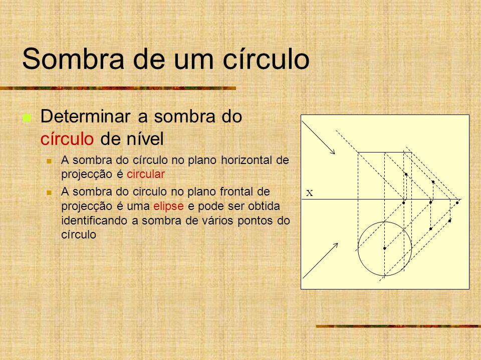 Sombra de um círculo Determinar a sombra do círculo de nível A sombra do círculo no plano horizontal de projecção é circular A sombra do circulo no plano frontal de projecção é uma elipse e pode ser obtida identificando a sombra de vários pontos do círculo X