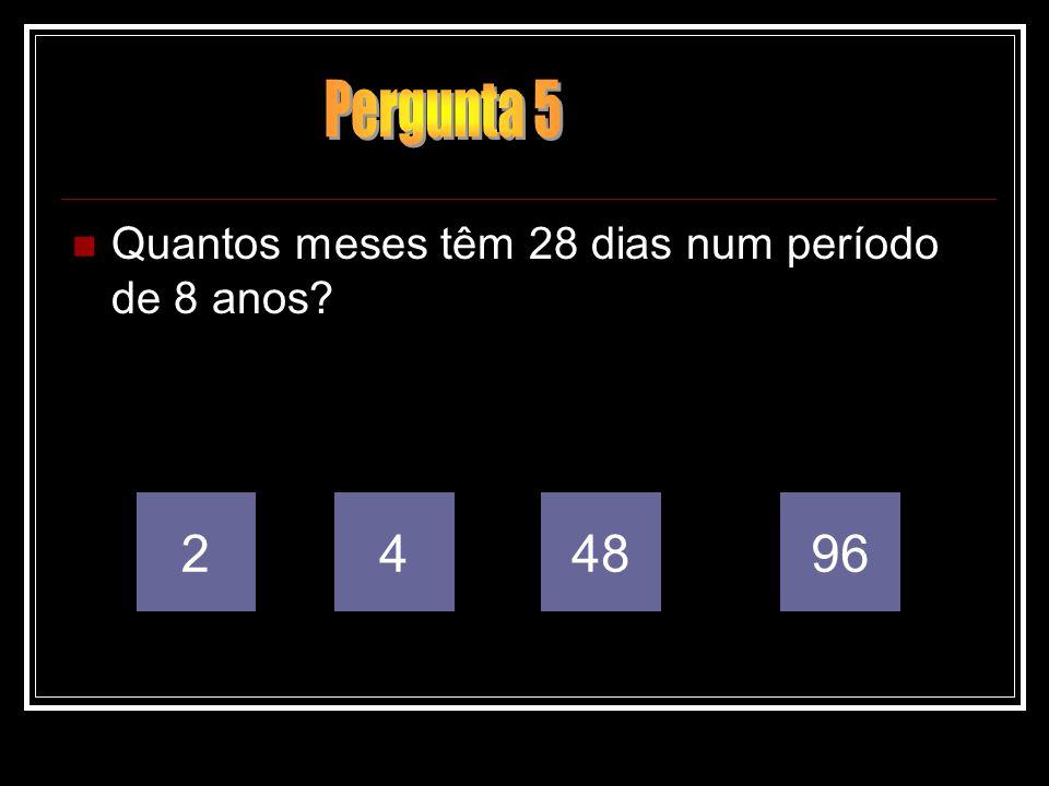 Quantos meses têm 28 dias num período de 8 anos? 249648
