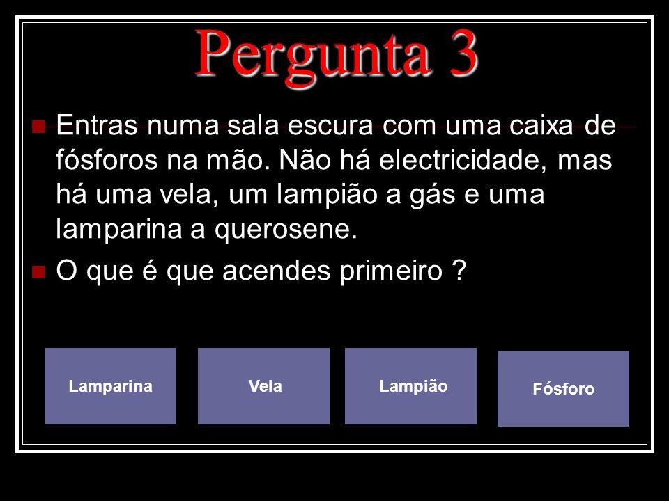 Pergunta 3 Entras numa sala escura com uma caixa de fósforos na mão. Não há electricidade, mas há uma vela, um lampião a gás e uma lamparina a querose