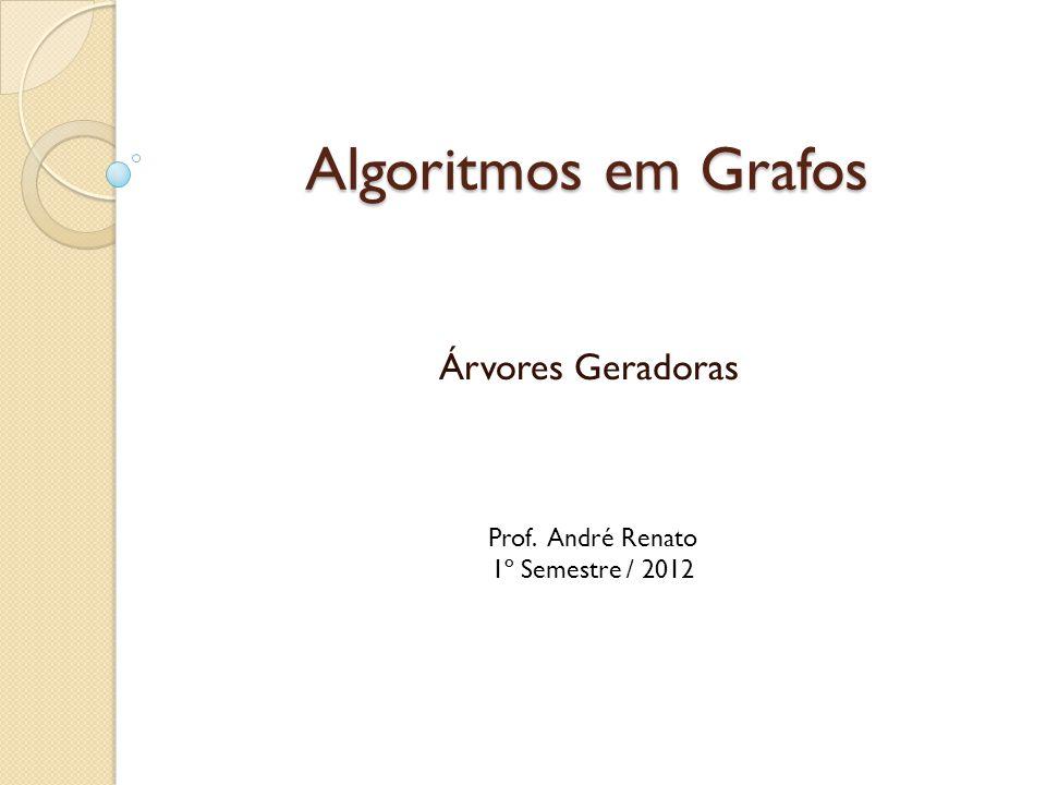 Algoritmos em Grafos Pseudo-código do algoritmo de Prim: Para cada vértice v: dist[v] := ;* dist[r] := 0; Insere, em uma lista de prioridade L, todos os vértices de acordo com dist[]; Enquanto L não estiver vazia: u := elemento de menor dist[] de L; Para todos os vértices v adjacente a u, que estão em L: Se w(u,v) < dist[v] então dist[v] := w(u,v); //atualizar L*