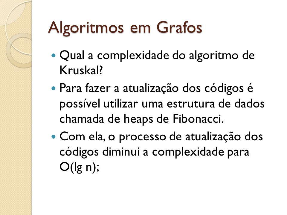 Algoritmos em Grafos Qual a complexidade do algoritmo de Kruskal? Para fazer a atualização dos códigos é possível utilizar uma estrutura de dados cham
