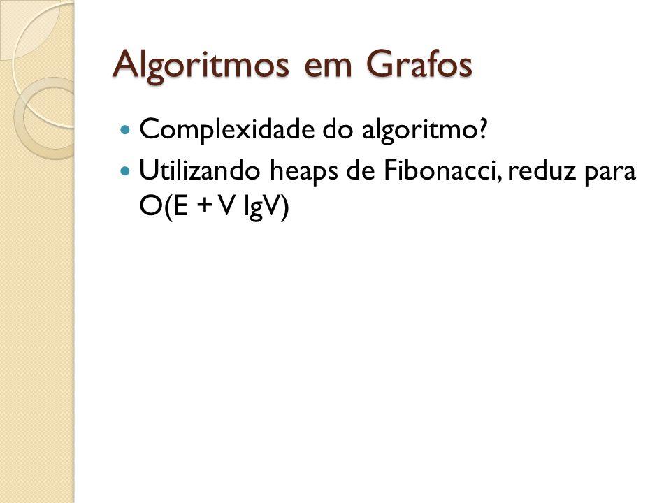 Algoritmos em Grafos Complexidade do algoritmo? Utilizando heaps de Fibonacci, reduz para O(E + V lgV)