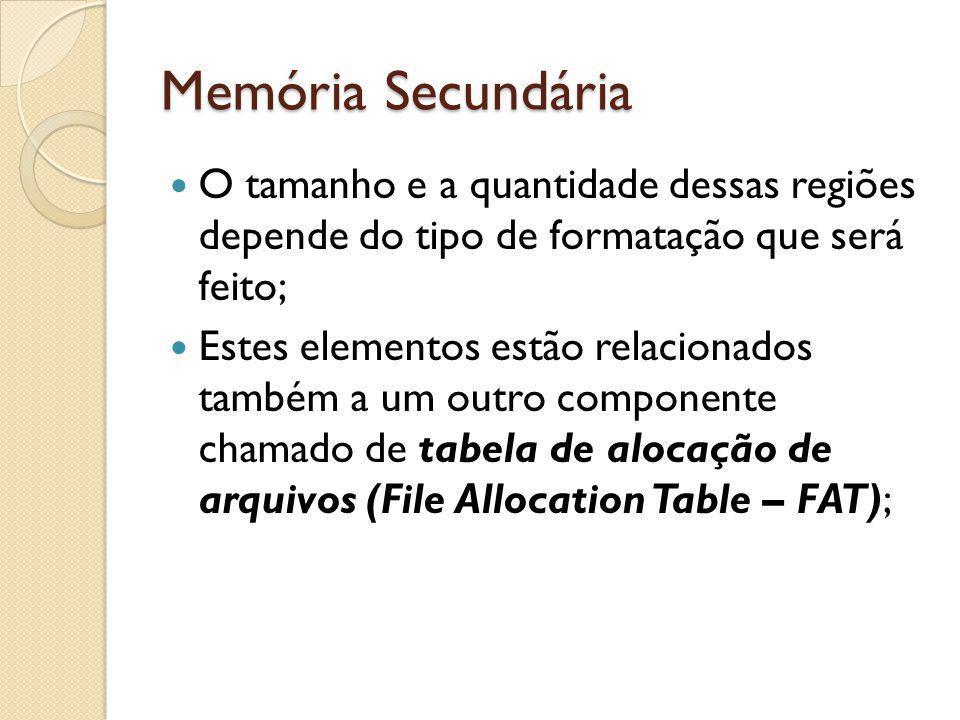 Memória Secundária O tamanho e a quantidade dessas regiões depende do tipo de formatação que será feito; Estes elementos estão relacionados também a u