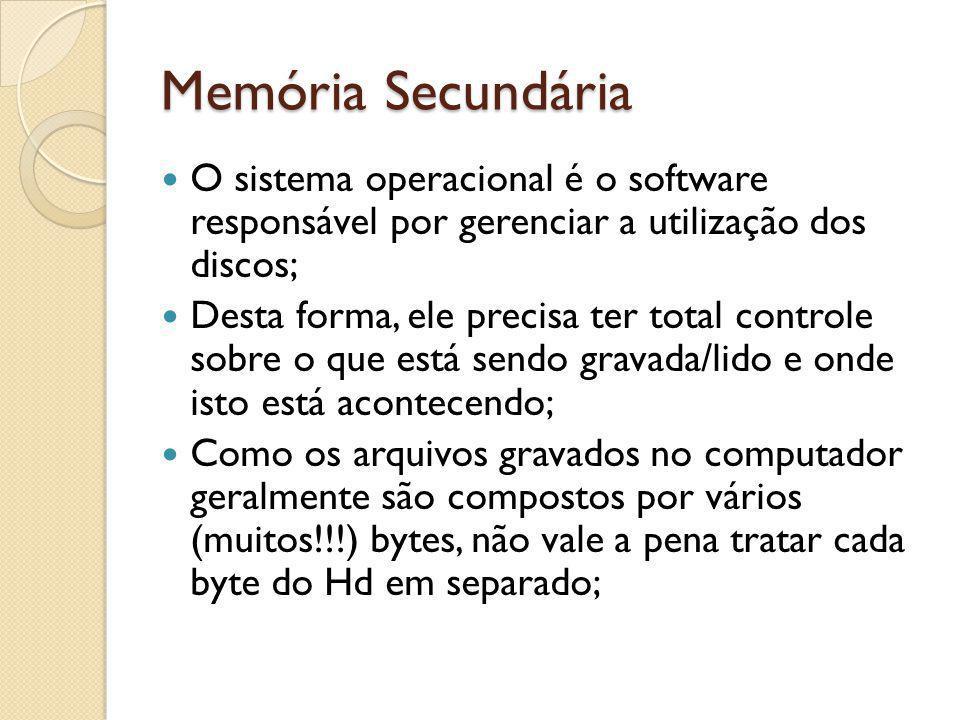 Memória Secundária O sistema operacional é o software responsável por gerenciar a utilização dos discos; Desta forma, ele precisa ter total controle s