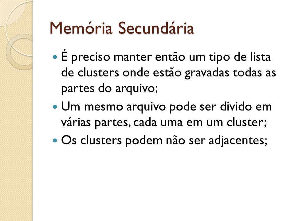 Memória Secundária É preciso manter então um tipo de lista de clusters onde estão gravadas todas as partes do arquivo; Um mesmo arquivo pode ser divid
