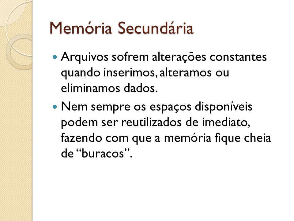 Memória Secundária Arquivos sofrem alterações constantes quando inserimos, alteramos ou eliminamos dados. Nem sempre os espaços disponíveis podem ser