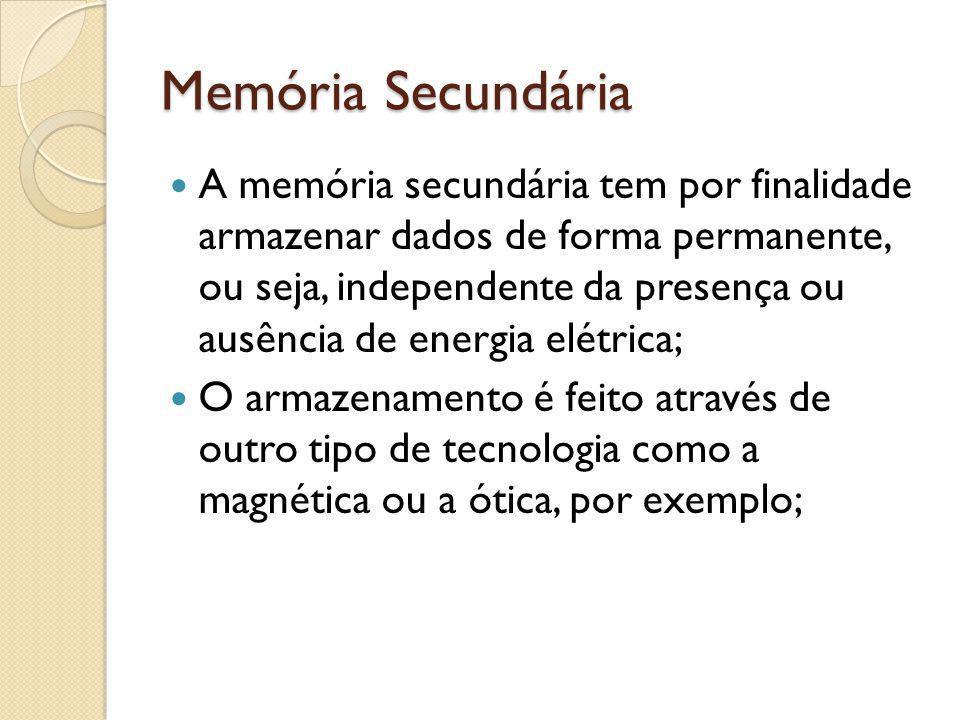 Memória Secundária A memória secundária tem por finalidade armazenar dados de forma permanente, ou seja, independente da presença ou ausência de energ