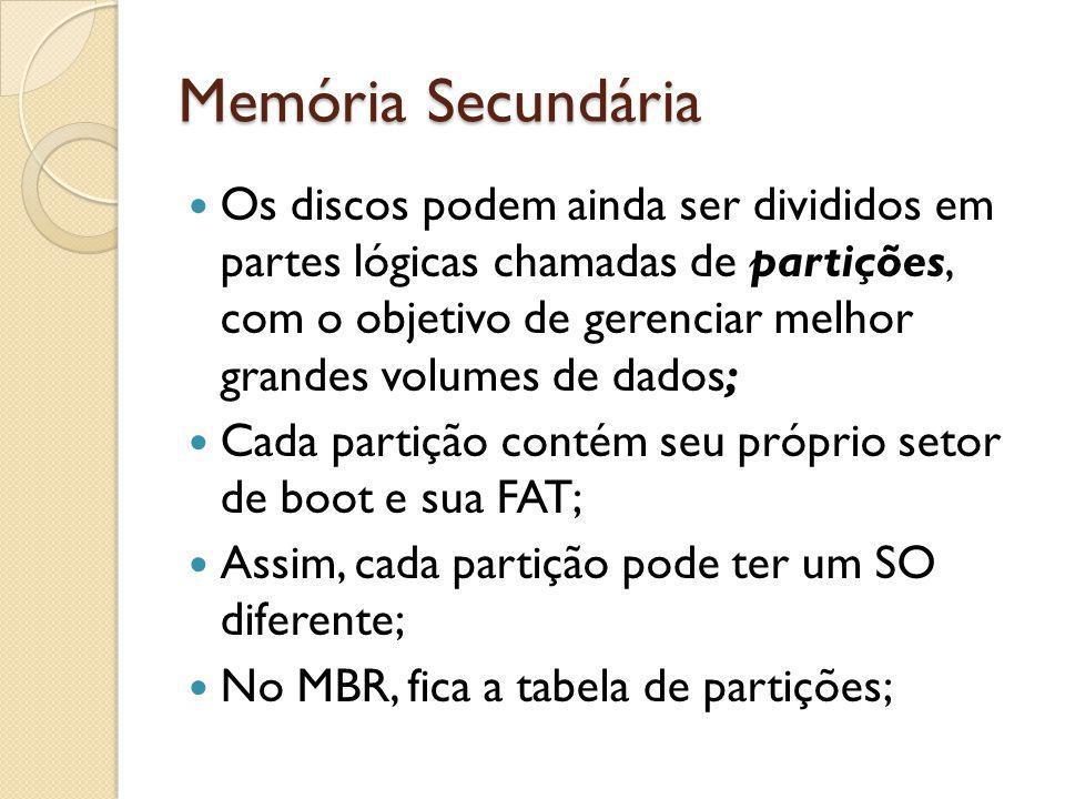 Memória Secundária Os discos podem ainda ser divididos em partes lógicas chamadas de partições, com o objetivo de gerenciar melhor grandes volumes de