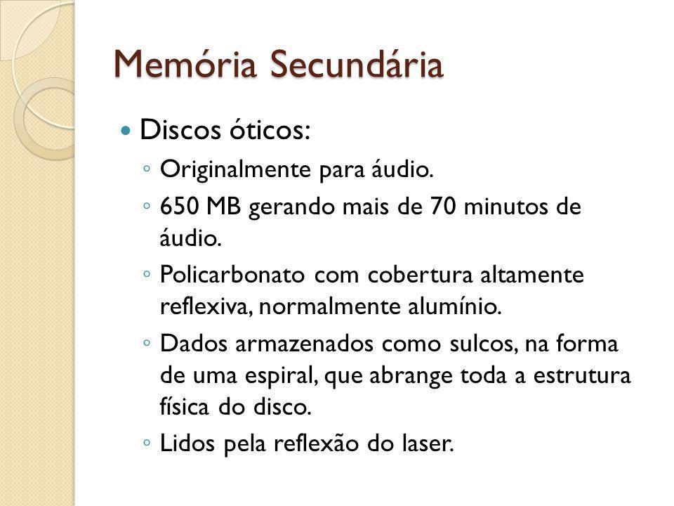 Memória Secundária Discos óticos: Originalmente para áudio. 650 MB gerando mais de 70 minutos de áudio. Policarbonato com cobertura altamente reflexiv