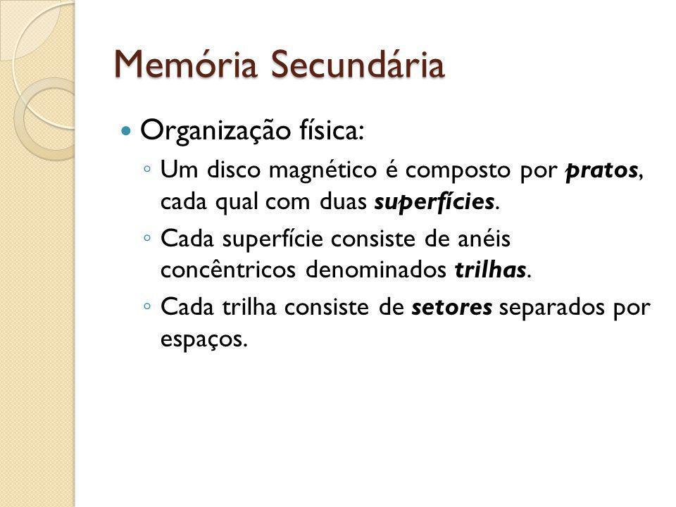Memória Secundária Organização física: Um disco magnético é composto por pratos, cada qual com duas superfícies. Cada superfície consiste de anéis con
