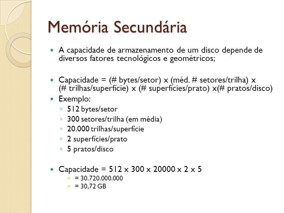 A capacidade de armazenamento de um disco depende de diversos fatores tecnológicos e geométricos; Capacidade = (# bytes/setor) x (méd. # setores/trilh