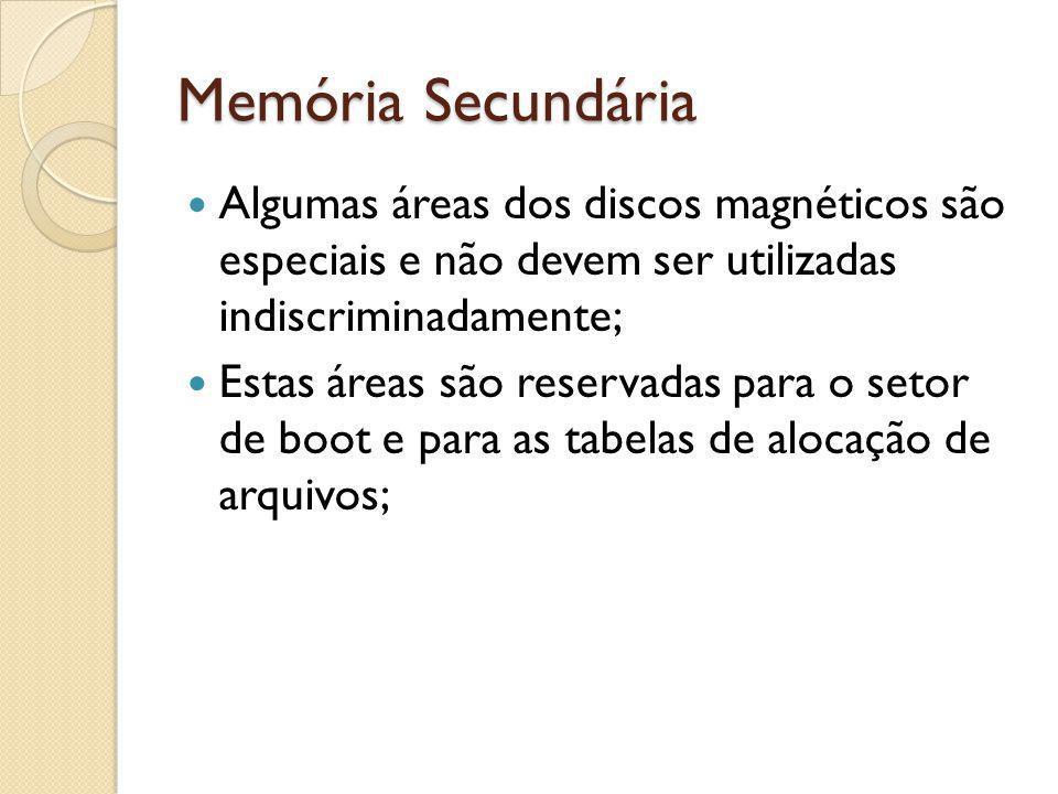 Memória Secundária Algumas áreas dos discos magnéticos são especiais e não devem ser utilizadas indiscriminadamente; Estas áreas são reservadas para o