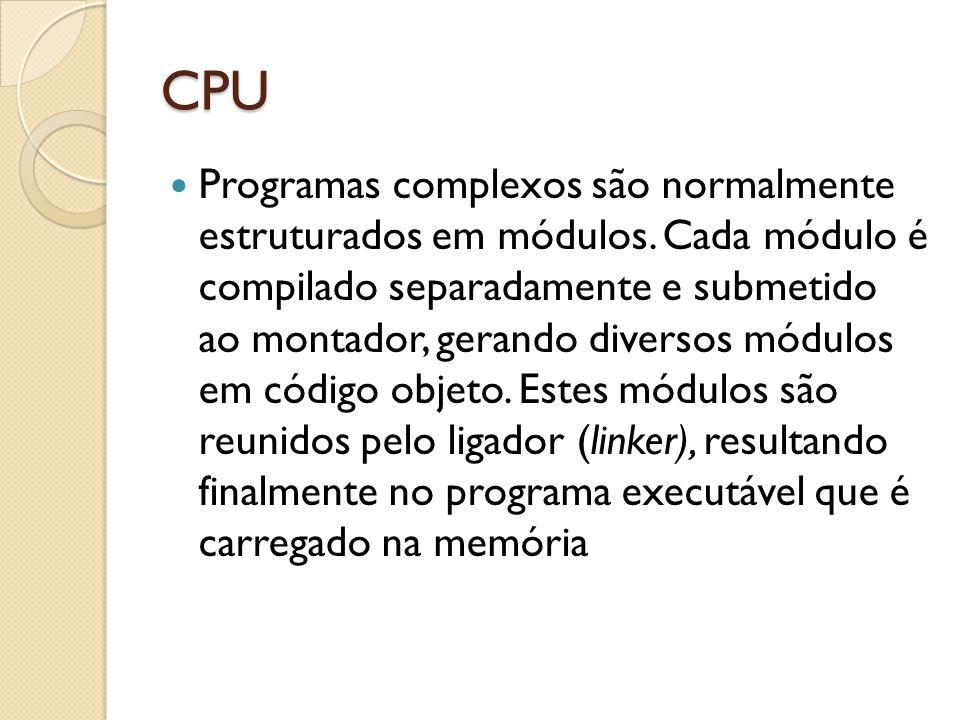 CPU Programas complexos são normalmente estruturados em módulos.
