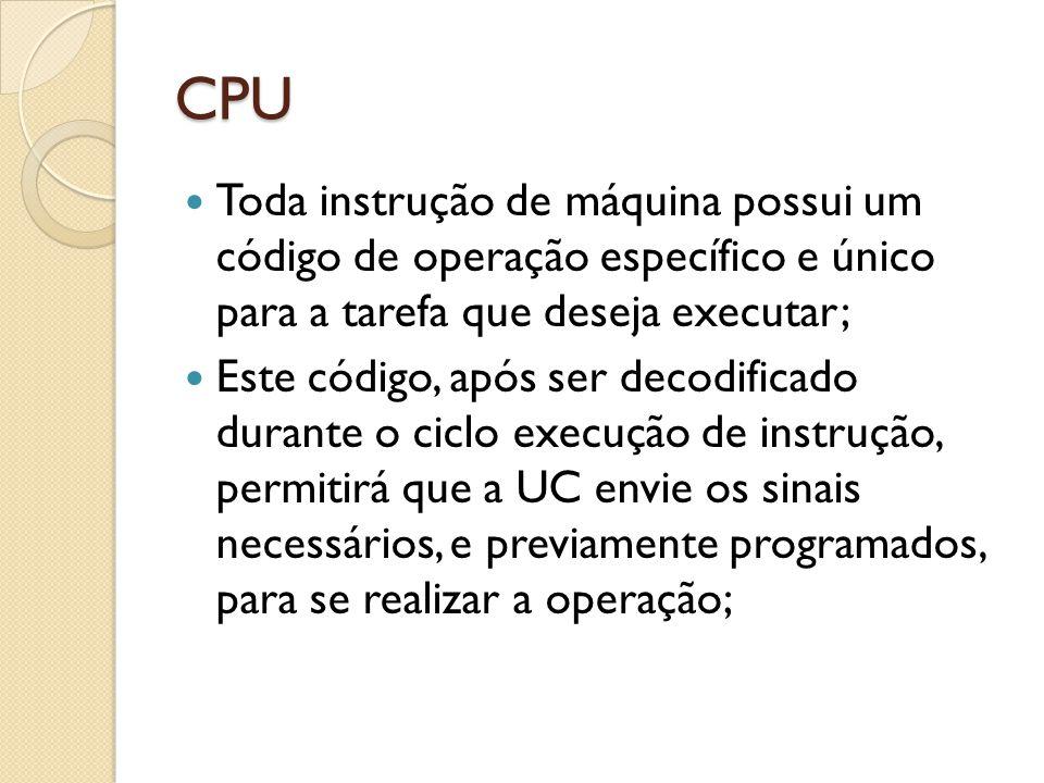 CPU Toda instrução de máquina possui um código de operação específico e único para a tarefa que deseja executar; Este código, após ser decodificado durante o ciclo execução de instrução, permitirá que a UC envie os sinais necessários, e previamente programados, para se realizar a operação;