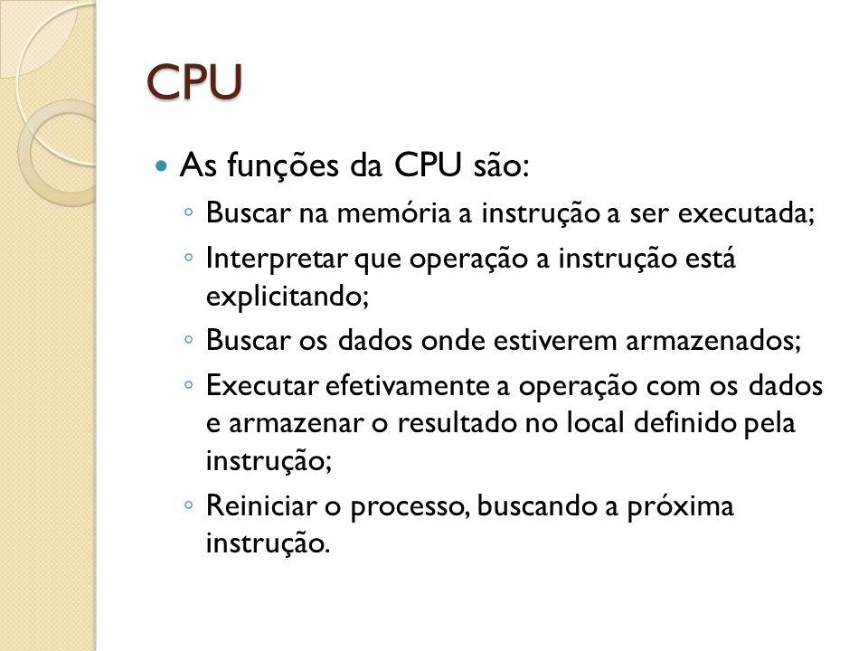 CPU As funções da CPU são: Buscar na memória a instrução a ser executada; Interpretar que operação a instrução está explicitando; Buscar os dados onde estiverem armazenados; Executar efetivamente a operação com os dados e armazenar o resultado no local definido pela instrução; Reiniciar o processo, buscando a próxima instrução.