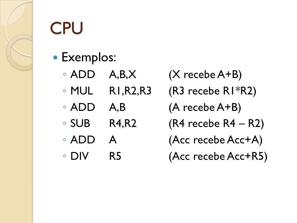 CPU Exemplos: ADDA,B,X (X recebe A+B) MULR1,R2,R3(R3 recebe R1*R2) ADDA,B(A recebe A+B) SUBR4,R2(R4 recebe R4 – R2) ADDA(Acc recebe Acc+A) DIVR5(Acc recebe Acc+R5)