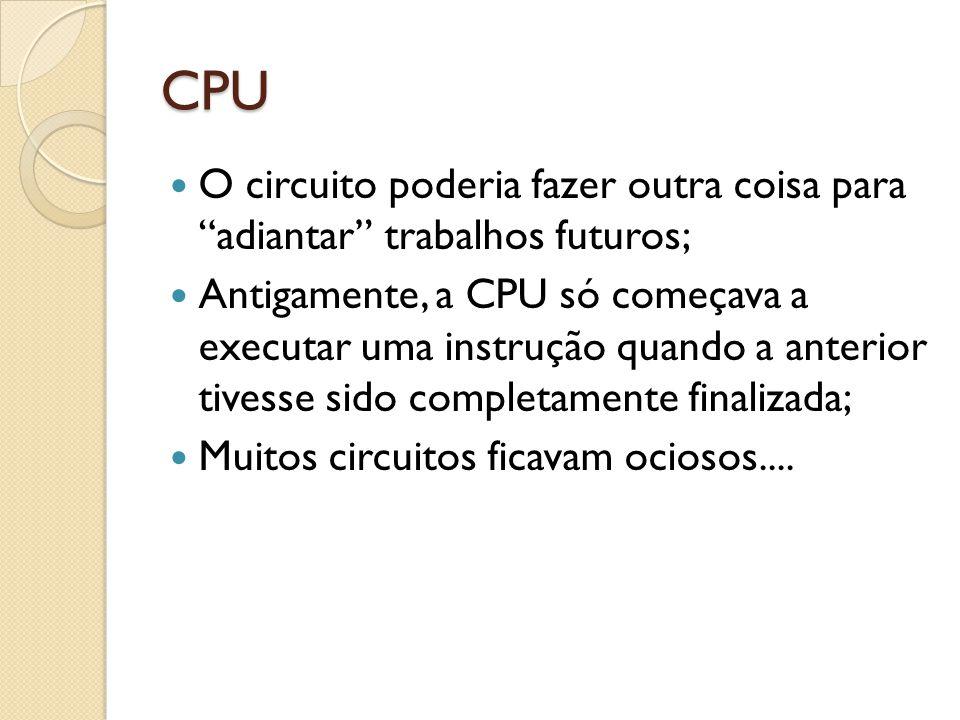 CPU O circuito poderia fazer outra coisa para adiantar trabalhos futuros; Antigamente, a CPU só começava a executar uma instrução quando a anterior tivesse sido completamente finalizada; Muitos circuitos ficavam ociosos....