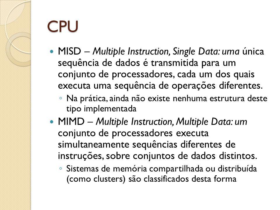 CPU MISD – Multiple Instruction, Single Data: uma única sequência de dados é transmitida para um conjunto de processadores, cada um dos quais executa uma sequência de operações diferentes.