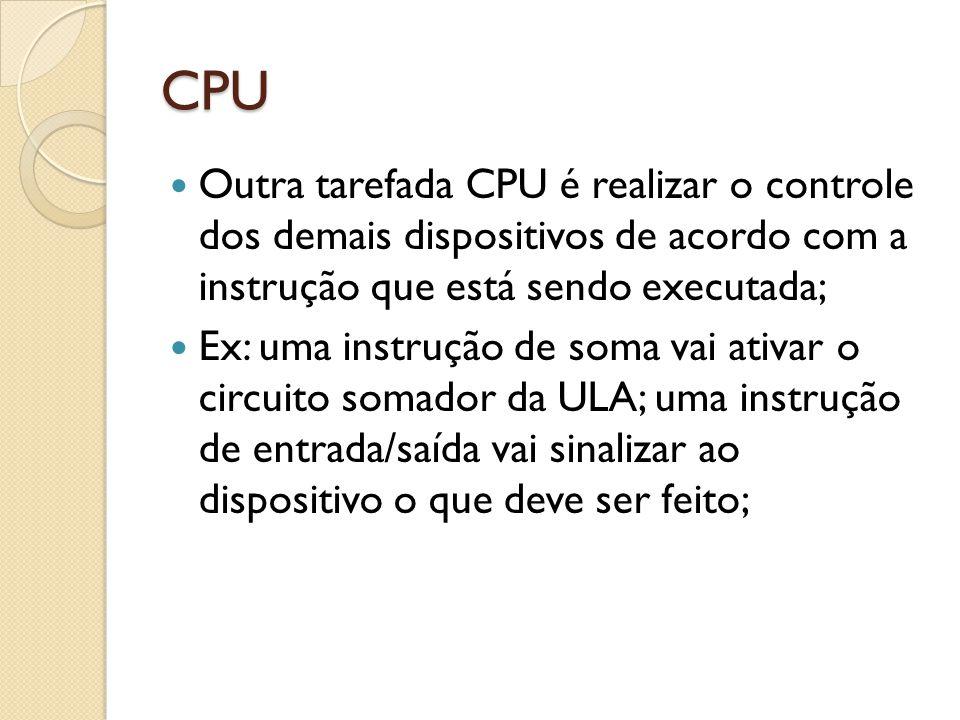 CPU Para que a CPU possa processar os dados e movê-los corretamente, ele precisará de uma pequena memória para manter os dados enquanto estão sendo manipulados; Esta memória é formada por pequenos componentes chamados de registradores;