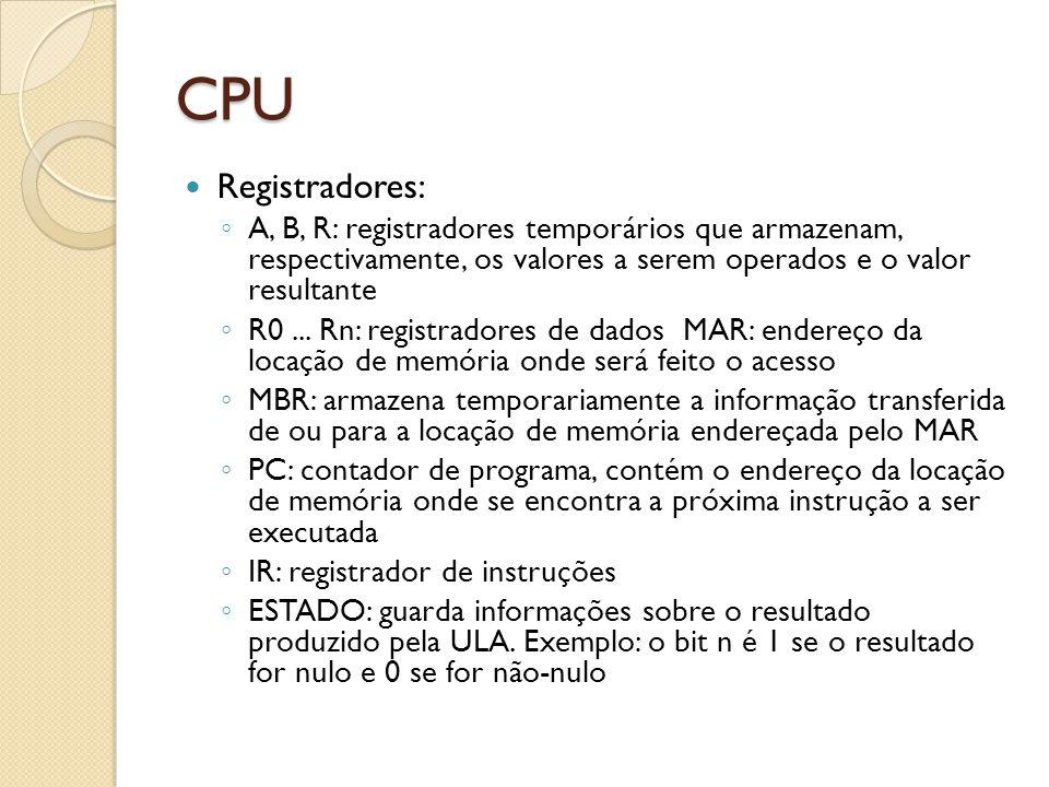 CPU Registradores: A, B, R: registradores temporários que armazenam, respectivamente, os valores a serem operados e o valor resultante R0...