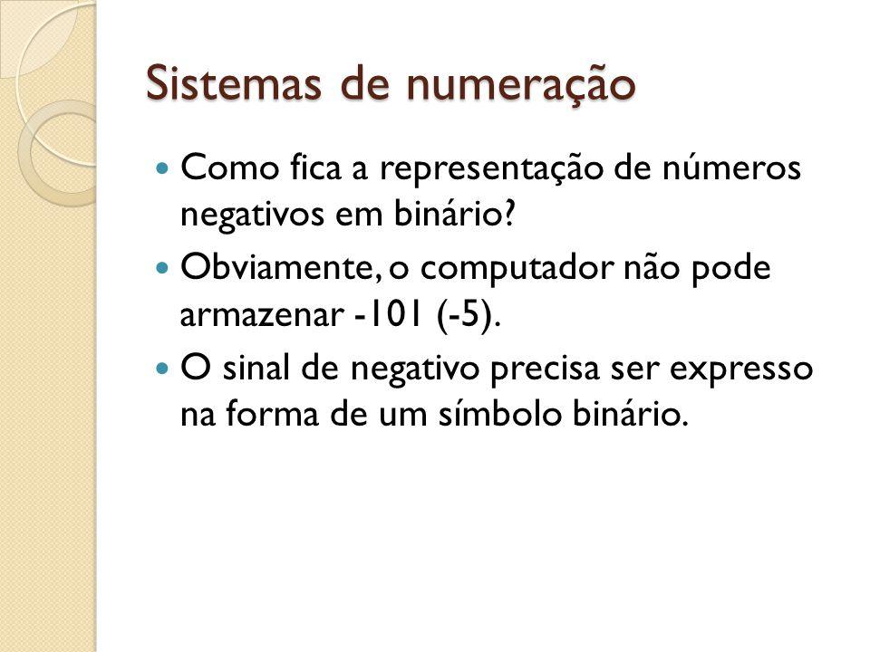 Sistemas de numeração Como fica a representação de números negativos em binário? Obviamente, o computador não pode armazenar -101 (-5). O sinal de neg