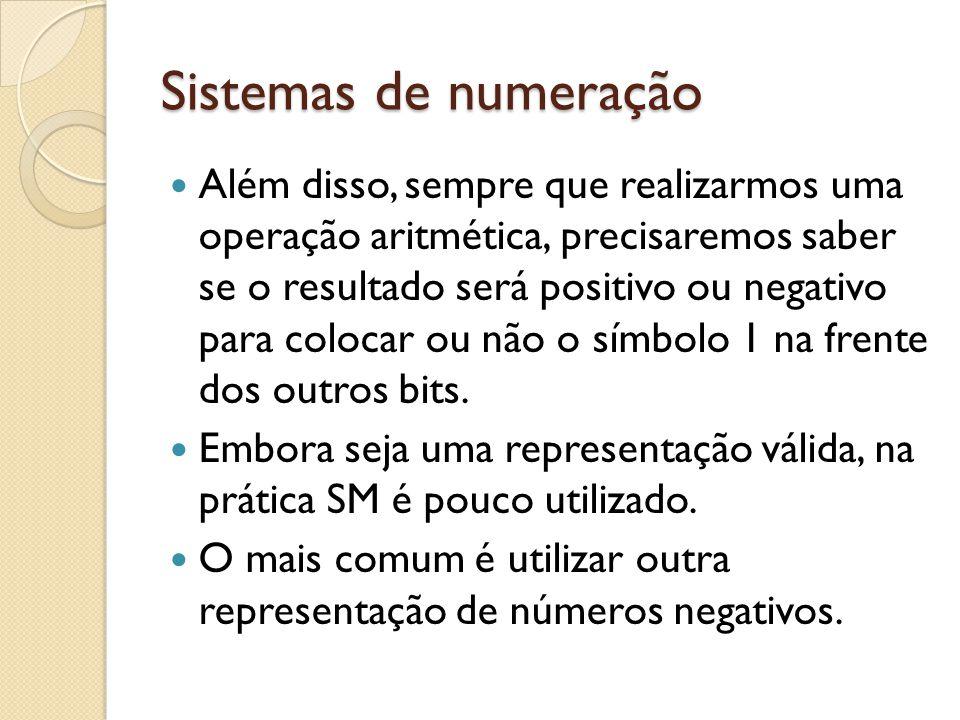 Sistemas de numeração Além disso, sempre que realizarmos uma operação aritmética, precisaremos saber se o resultado será positivo ou negativo para col
