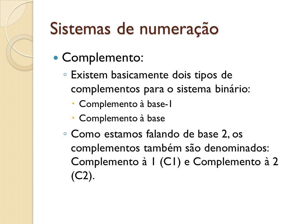 Sistemas de numeração Complemento: Existem basicamente dois tipos de complementos para o sistema binário: Complemento à base-1 Complemento à base Como