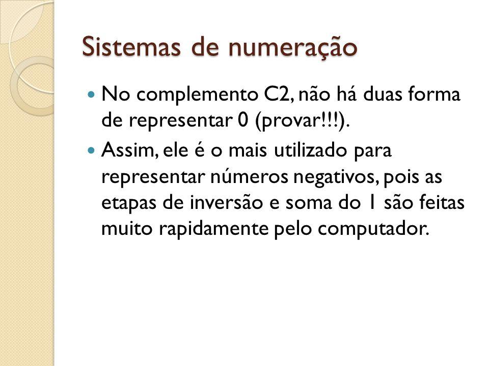 Sistemas de numeração No complemento C2, não há duas forma de representar 0 (provar!!!). Assim, ele é o mais utilizado para representar números negati