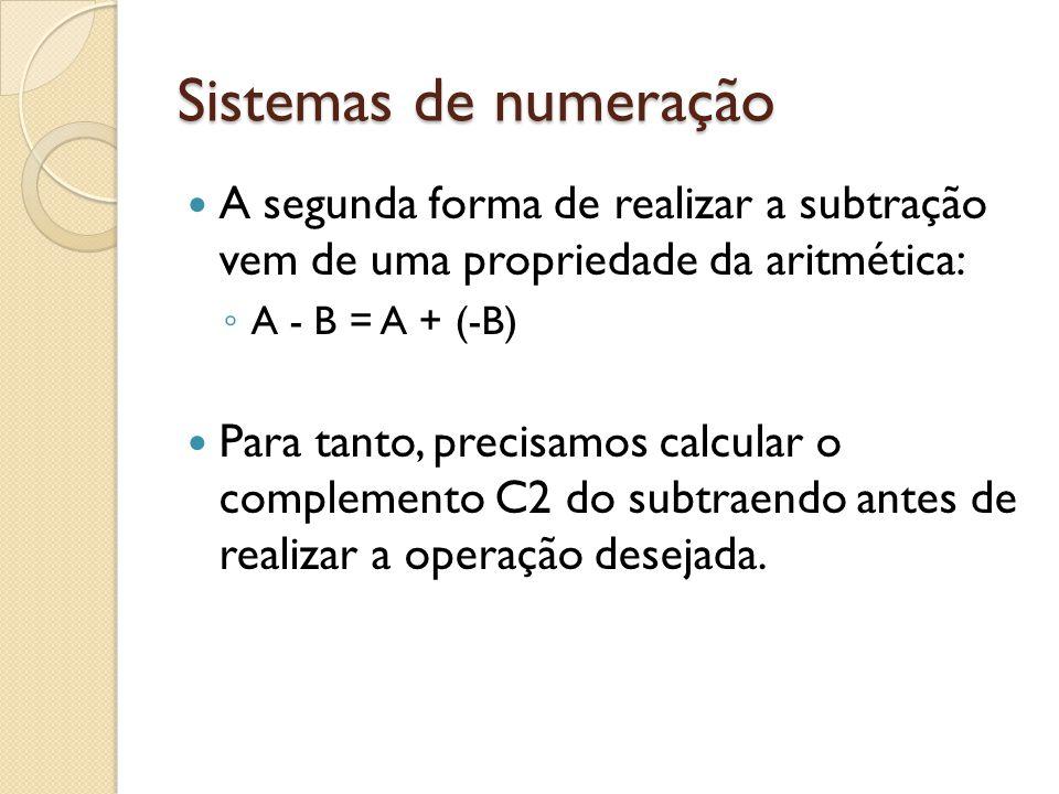 Sistemas de numeração A segunda forma de realizar a subtração vem de uma propriedade da aritmética: A - B = A + (-B) Para tanto, precisamos calcular o