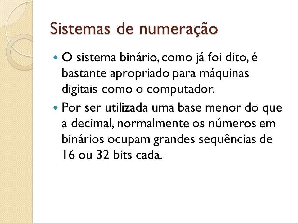 Sistemas de numeração O sistema binário, como já foi dito, é bastante apropriado para máquinas digitais como o computador. Por ser utilizada uma base