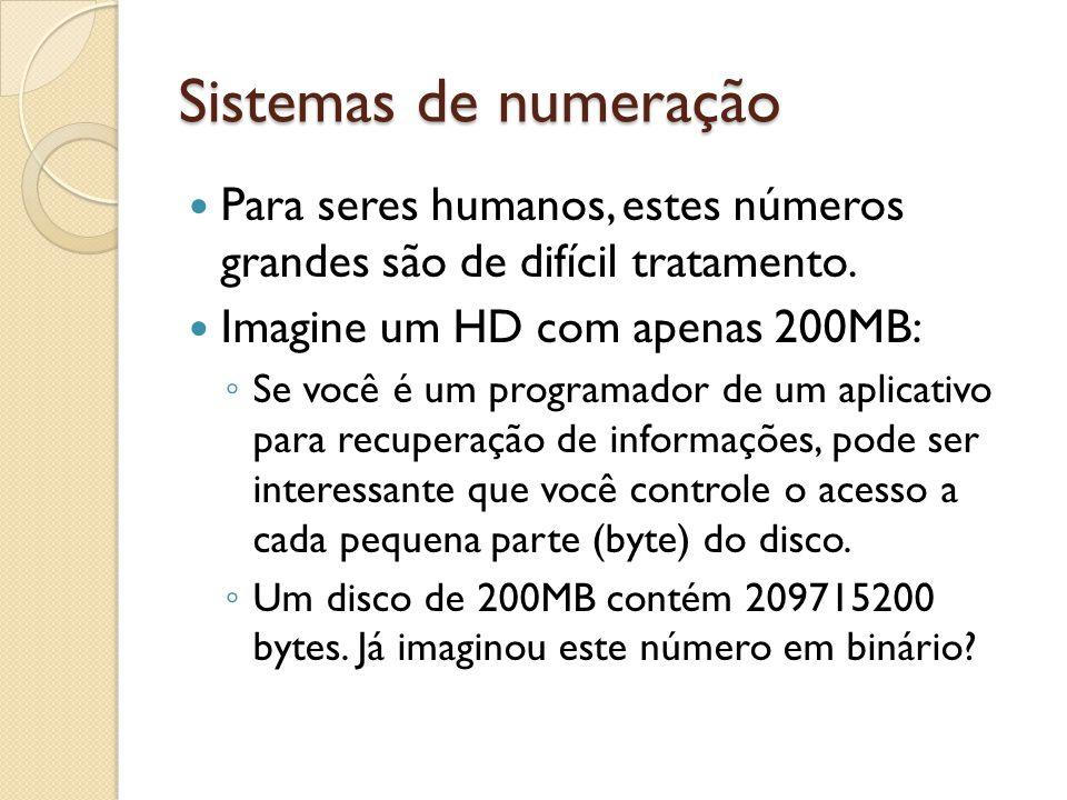 Sistemas de numeração Para seres humanos, estes números grandes são de difícil tratamento. Imagine um HD com apenas 200MB: Se você é um programador de