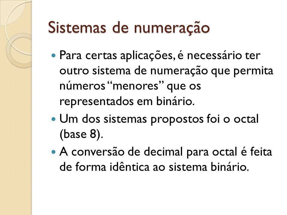 Sistemas de numeração Para certas aplicações, é necessário ter outro sistema de numeração que permita números menores que os representados em binário.