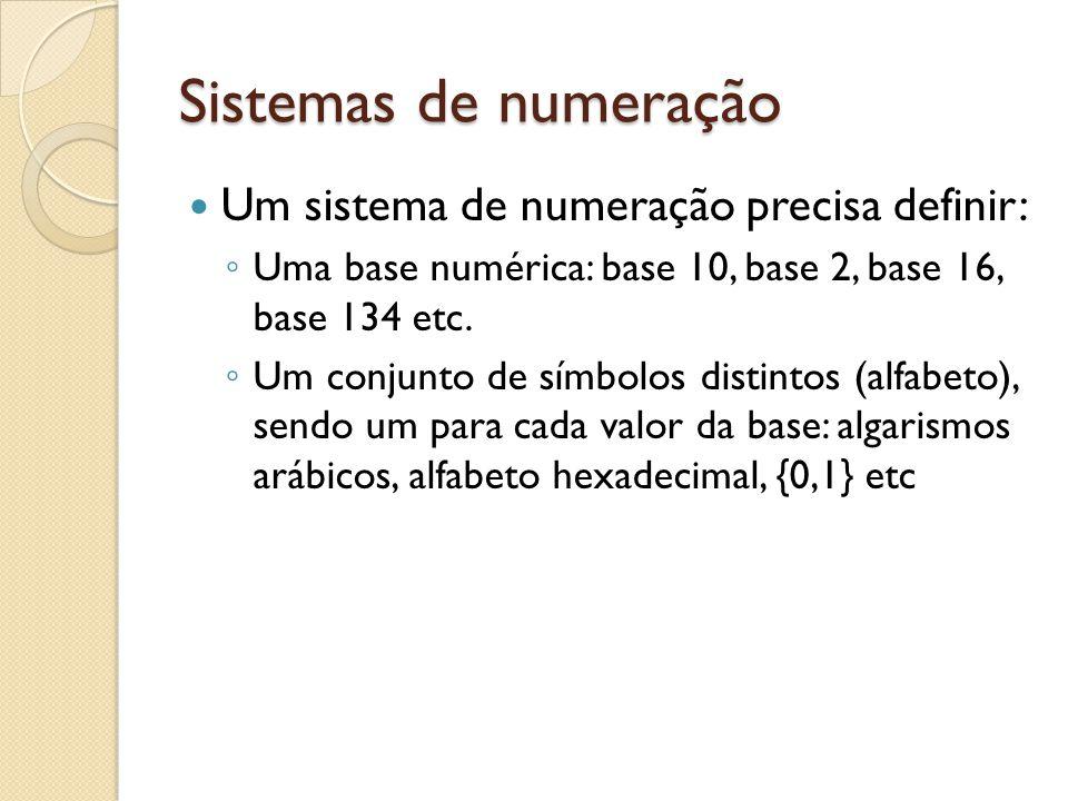 Sistemas de numeração Um sistema de numeração precisa definir: Uma base numérica: base 10, base 2, base 16, base 134 etc. Um conjunto de símbolos dist