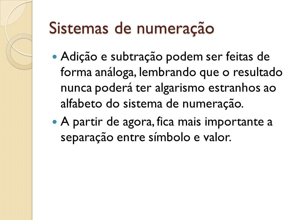 Sistemas de numeração Adição e subtração podem ser feitas de forma análoga, lembrando que o resultado nunca poderá ter algarismo estranhos ao alfabeto