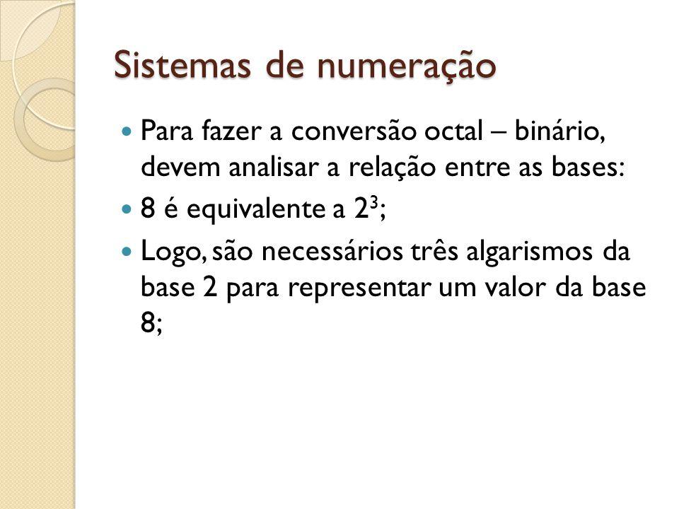 Sistemas de numeração Para fazer a conversão octal – binário, devem analisar a relação entre as bases: 8 é equivalente a 2 3 ; Logo, são necessários t