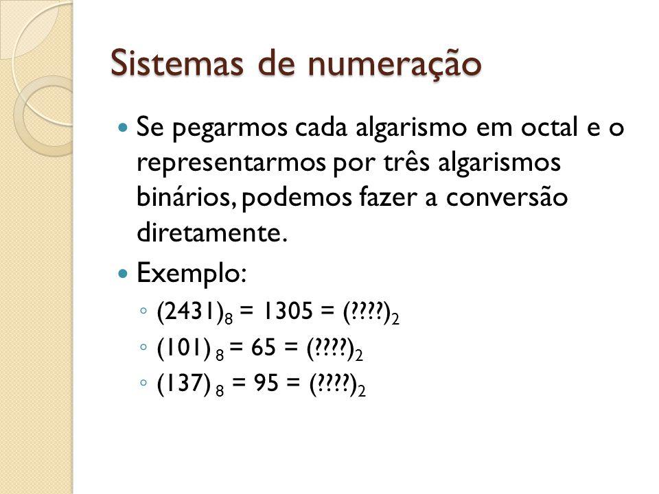 Sistemas de numeração Se pegarmos cada algarismo em octal e o representarmos por três algarismos binários, podemos fazer a conversão diretamente. Exem