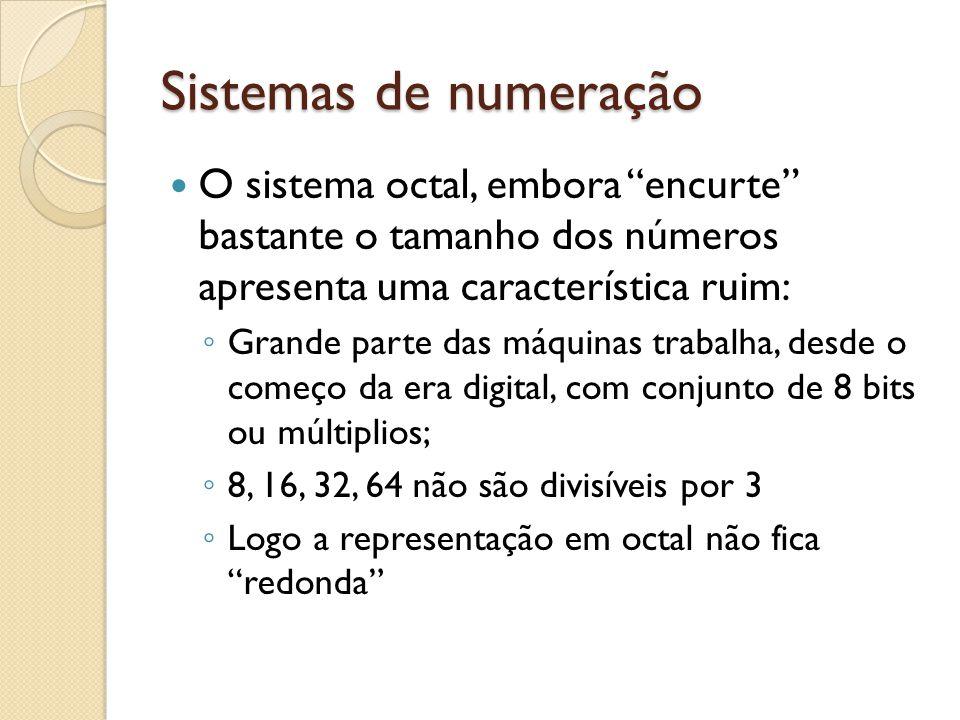 Sistemas de numeração O sistema octal, embora encurte bastante o tamanho dos números apresenta uma característica ruim: Grande parte das máquinas trab