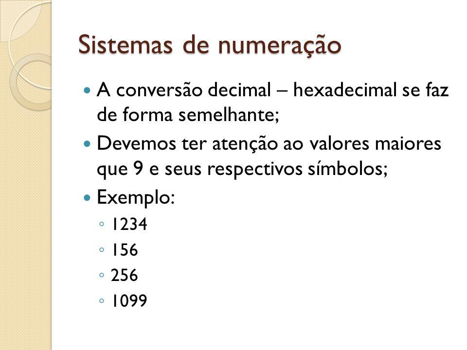 Sistemas de numeração A conversão decimal – hexadecimal se faz de forma semelhante; Devemos ter atenção ao valores maiores que 9 e seus respectivos sí