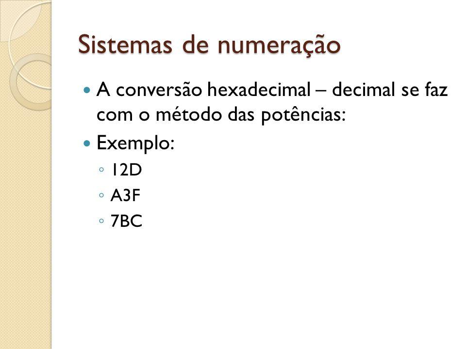 Sistemas de numeração A conversão hexadecimal – decimal se faz com o método das potências: Exemplo: 12D A3F 7BC