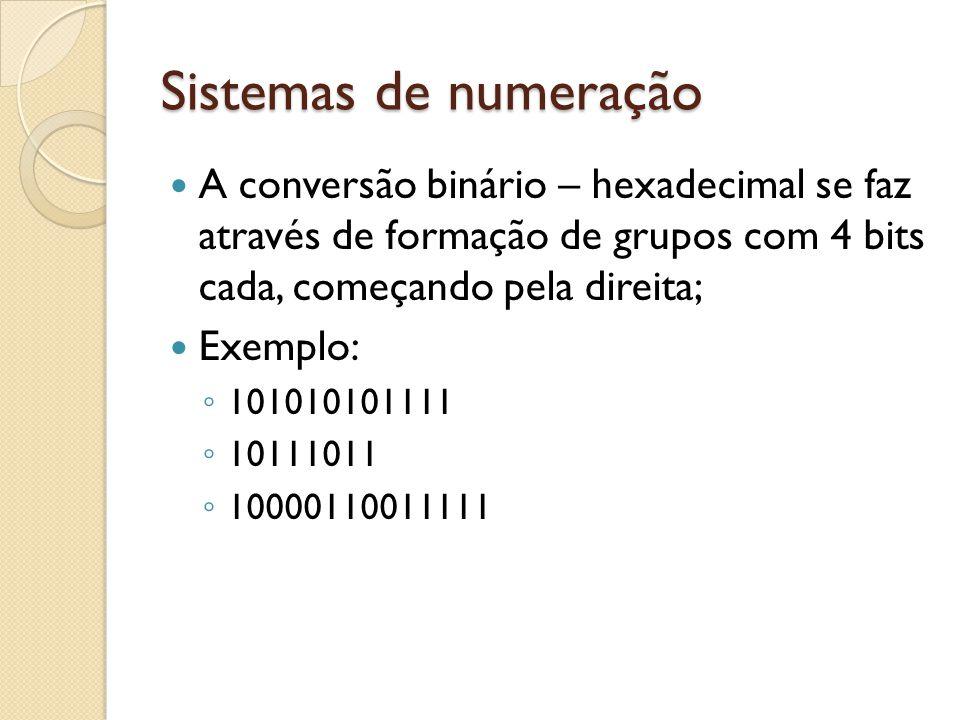 Sistemas de numeração A conversão binário – hexadecimal se faz através de formação de grupos com 4 bits cada, começando pela direita; Exemplo: 1010101