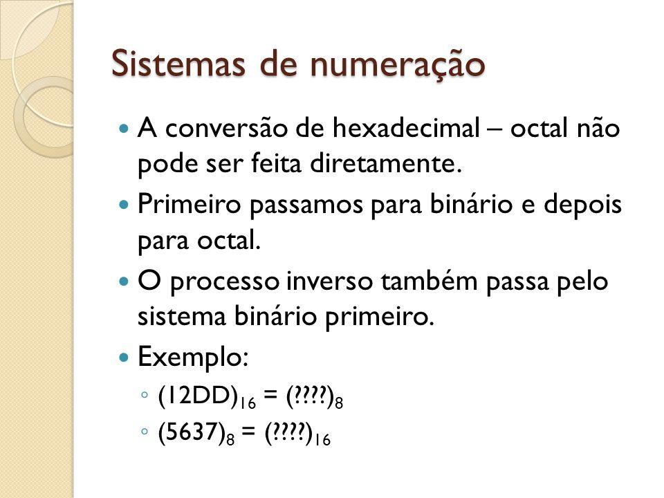Sistemas de numeração A conversão de hexadecimal – octal não pode ser feita diretamente. Primeiro passamos para binário e depois para octal. O process