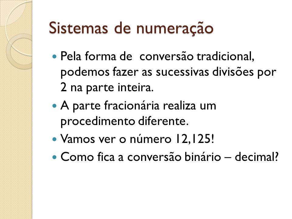 Sistemas de numeração Pela forma de conversão tradicional, podemos fazer as sucessivas divisões por 2 na parte inteira. A parte fracionária realiza um