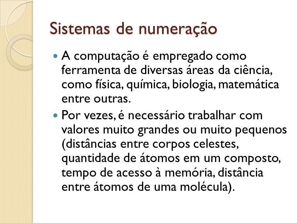 Sistemas de numeração A computação é empregado como ferramenta de diversas áreas da ciência, como física, química, biologia, matemática entre outras.