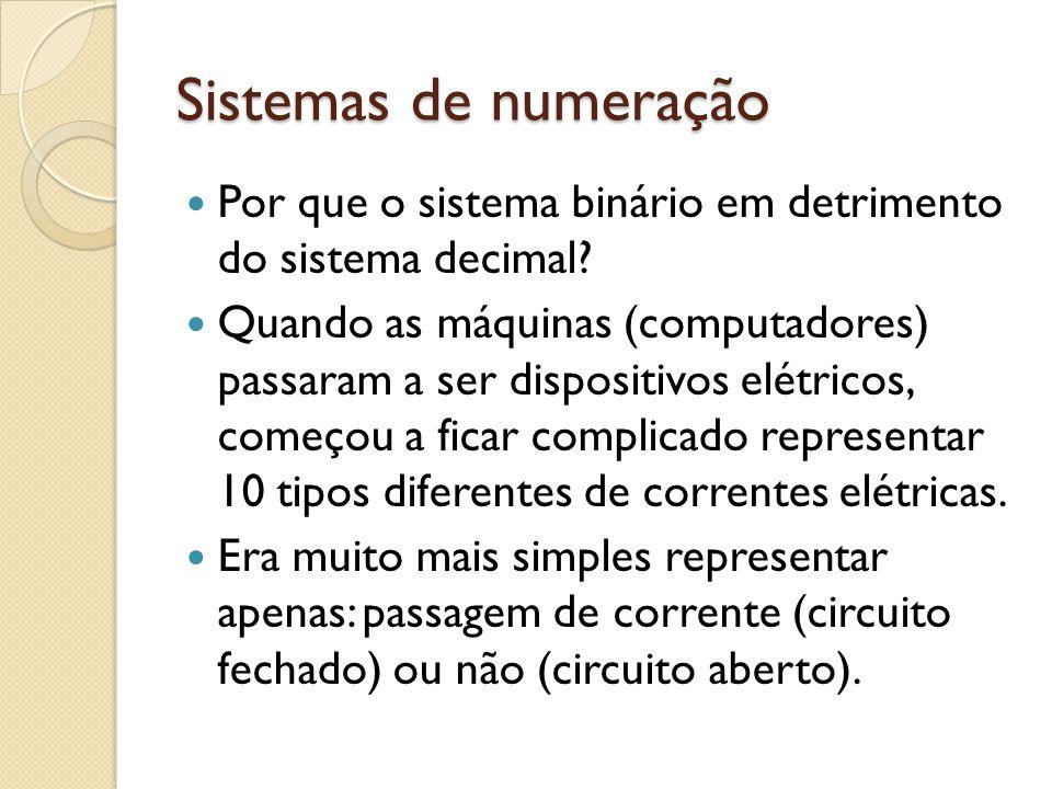 Sistemas de numeração Por que o sistema binário em detrimento do sistema decimal? Quando as máquinas (computadores) passaram a ser dispositivos elétri