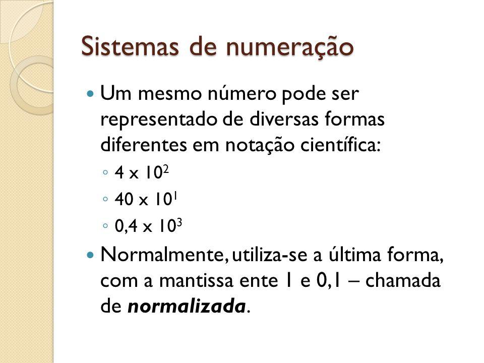 Sistemas de numeração Um mesmo número pode ser representado de diversas formas diferentes em notação científica: 4 x 10 2 40 x 10 1 0,4 x 10 3 Normalm