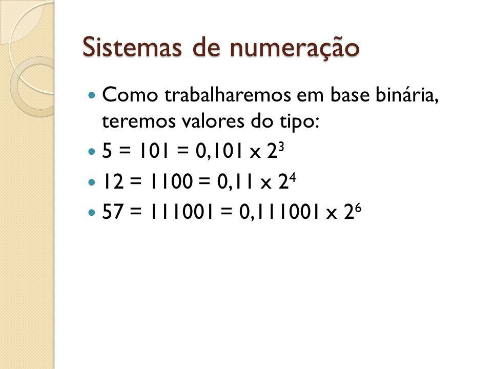 Sistemas de numeração Como trabalharemos em base binária, teremos valores do tipo: 5 = 101 = 0,101 x 2 3 12 = 1100 = 0,11 x 2 4 57 = 111001 = 0,111001