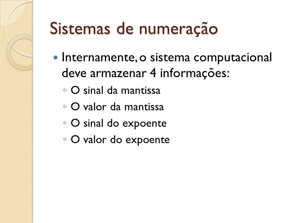 Sistemas de numeração Internamente, o sistema computacional deve armazenar 4 informações: O sinal da mantissa O valor da mantissa O sinal do expoente